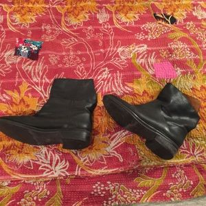 Shoes - Black leather ankle boots with asymmetric top